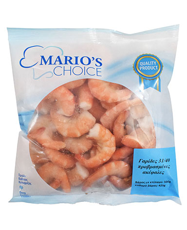 SHRIMPS BLANCHED HEADLESS 10-30/21-30/31-40/41-50 PILLOW PACK (500g)